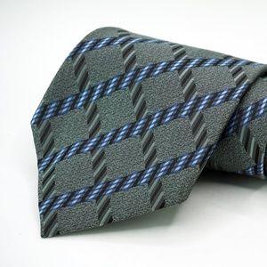"Hugo Boss 100% Silk Neck Tie 3.5"" Width Gray Plaid"
